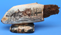 Wolves at Play Scrimshaw by Dennis Sims