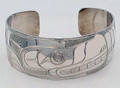 Bear Haida Style Cuff Bracelet  | Native Totemic Silver Jewelry