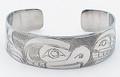 Thunderbird & Orca Haida Style Cuff Bracelet  | Native Totemic Silver Jewelry