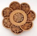 "Birch Bark Dish/Snack Tray with 7 Petals - ""Sunflowers"" | Siberian Birch Bark"