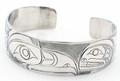 "Eagle & Orca Haida Style Cuff Bracelet 3/4""  | Native Totemic Silver Jewelry"