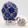 Swan Egg Box - Blue Small  | Faberge Style Egg