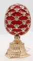 Faberge Style Enameled Red Egg - Flower Bouquet Double Imperial Egg