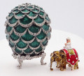 Pine Cone w/ Elephant Surprise Green Faberge Style Egg - small