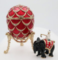 Pine Cone w/ Elephant Surprise Faberge Style Egg - Red