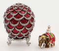 Pine Cone w/ Elephant Surprise Red Faberge Style Egg - small