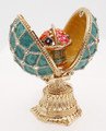 Copy of Faberge Style Enameled Egg and Mini Floral Basket - Blue