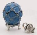 Swan Egg Box - Light Blue Small  | Faberge Style Egg