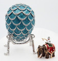 Pine Cone w/ Elephant Surprise Blue Faberge Style Egg