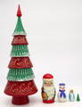 Red and Green Christmas Tree - 5 Nest | Traditional Matryoshka Nesting Doll