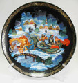 Winter Troika Palekh Decorative Plate Large - Russian Souvenir