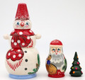 Snowman - Red Hat | Traditional Matryoshka Nesting Doll