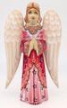 Hand-carved Praying Angel - Pink Dress