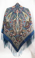 Russian Pavlovo Posad Shawl - Teal Dream