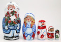 Ded Moroz with Two Bullfinch | Matryoshka / Nevalashka Doll