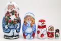 Ded Moroz with Two Bullfinch | Matryoshka / Nevalashka Doll