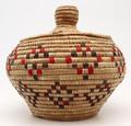 Native American Yupik Alaskan Woven Lidded Basket - Hand Woven Basket