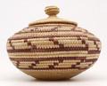 Native American Yupik Woven Lidded Basket - Hand Woven Basket