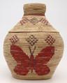 Native American Yupik Woven Butterfly Lidded Basket - Hand Woven Basket