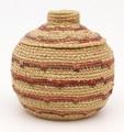 Native American Yupik Woven Small Lidded Basket - Hand Woven Basket