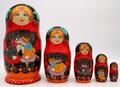 Two Cats Matryoshka 5pc | Fine Art Matryoshka Nesting Doll