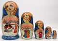 Village scenes Matryoshka 5pc   Traditional Matryoshka Nesting Doll