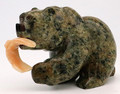 Soapstone Bear with Alabaster Fish | Bronze and Soapstone