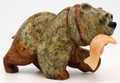Soapstone Bear with Alabaster Fish II | Bronze and Soapstone