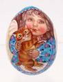 Baby Angel with Kitten - Christmas Egg Ornament