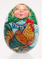 Angel with Rooster - Christmas Egg Ornament