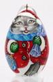 Santa - Cat - Christmas Egg Ornament