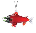 Hand Blown Glass Red King Salmon Ornament