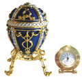 Egg with an Arrow - Blue with a Clock | Faberge Style Egg