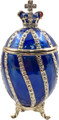 Faberge Style Egg with a Crown - Dark Blue   Faberge Style Egg