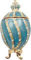 Faberge Style Egg with a Crown - Small Blue   Faberge Style Egg