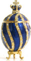 Faberge Style Egg with a Crown - Small Dark Blue   Faberge Style Egg