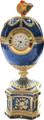 Rooster Egg - Blue with a Clock | Faberge Style Egg