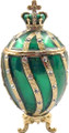 Faberge Style Egg with a Crown - Small Green   Faberge Style Egg