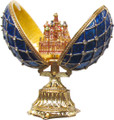 Faberge Style Enameled Egg with St Basil's Cathedral - Blue