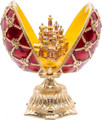 Faberge Style Enameled Egg with St Basil's Cathedral - Large Red
