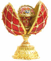 Faberge Style Enameled Egg and Mini Floral Basket - Red