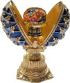 Faberge Style Enameled Egg and Mini Floral Basket - Blue Small