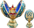 Faberge Style Enameled Egg with St Basil's Cathedral - Double Headed Eagle