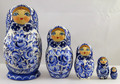 Blue Roses 5 Piece Set | Traditional Matryoshka Nesting Doll