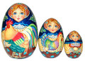 Rooster Maiden 3 Piece Egg | Traditional Matryoshka Nesting Doll
