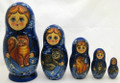 Cat by Tatiana Bochegova Blue | Unique Museum Quality Matryoshka Doll