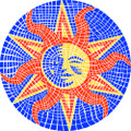 "Set of two 7"" MINI Mosaic Sun Drop-in PoolArt™"