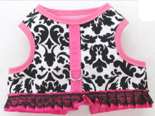 Mr. Wags Custom Dachshund Walking Harness Vest - Pink Fleur De Lis Fancy