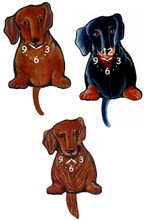 Tail Wagging Clock Available in Smooth Red, Longhair Red and  Smooth Black-Tan Dachshunds