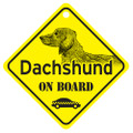 Dachshund On Board Mini Sign with Longhair Doxie for your Car or Truck
